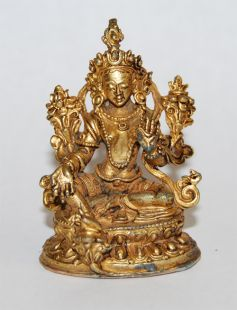 Green Tara Gilt Copper 2〝 Statue (II)
